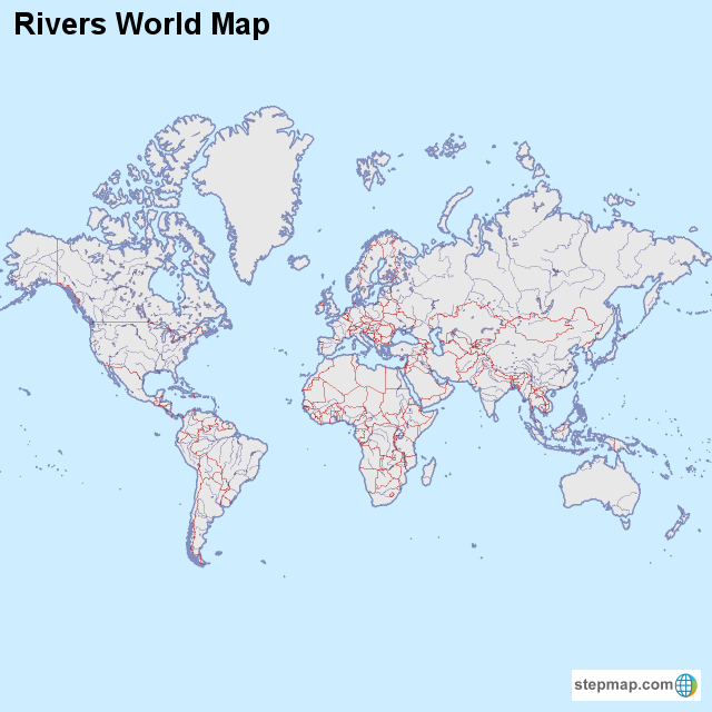Stepmap Rivers World Map Landkarte Fur World