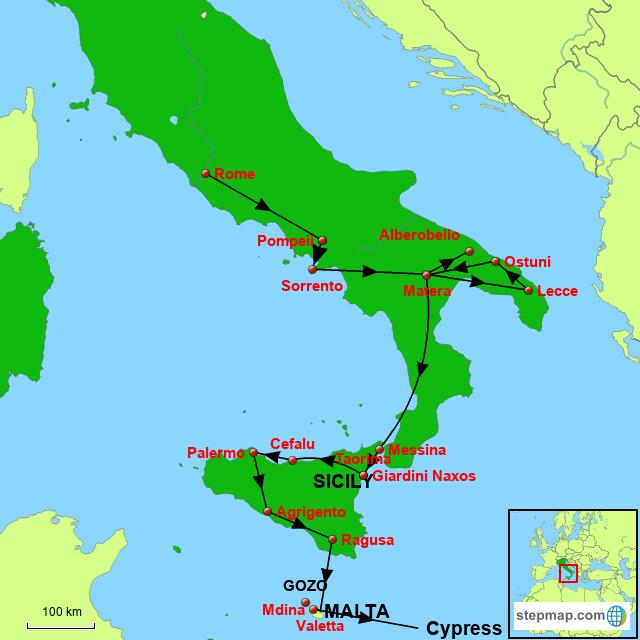 Stepmap Rome To Malta Landkarte Fur Italy