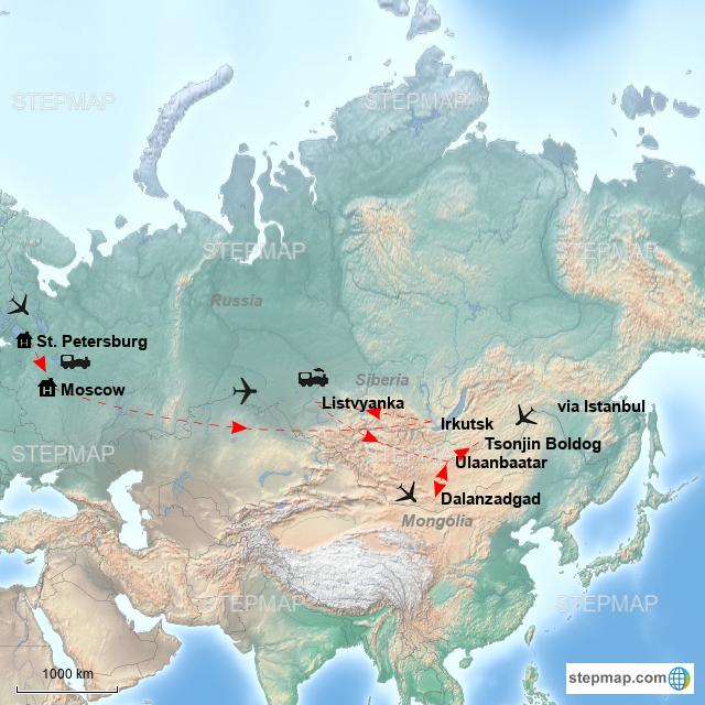 Where Is Siberia On A World Map.Stepmap Russia Siberia And Mongolia Landkarte Fur Mongolia
