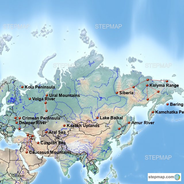 StepMap - Russia and its Neighbors 2 - Landkarte für Germany
