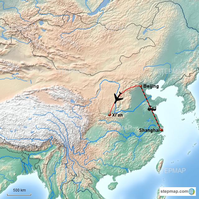 Physical Map of Zhong Xian |Xian East Asia Map