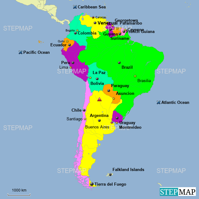 Map Of South America 2017.Stepmap South America Landkarte Fur Argentina