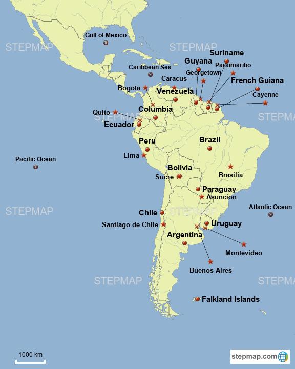 Stepmap South America Landkarte Fur South America