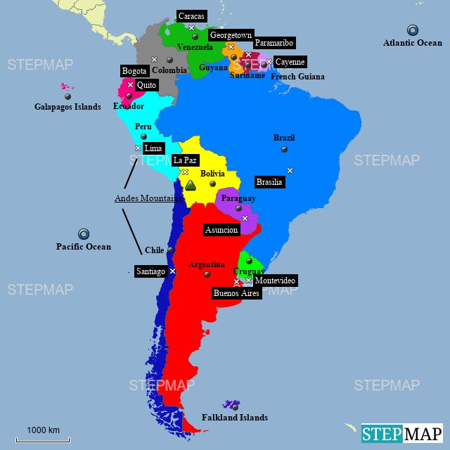 StepMap - South America - Landkarte für Argentina