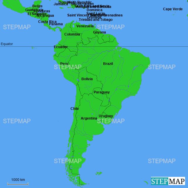 StepMap - South America - Landkarte für Argentina on lake maracaibo south america map, north america south america map, ecuador south america map, tropic of capricorn south america map, map south america map, northern south america map, central america south america map, lake titicaca south america map, atlantic ocean south america map, amazon rainforest south america map, south america language map, gran chaco south america map, caribbean south america map, axis south america map, south america falkland islands map, tierra del fuego south america map, strait of magellan south america map, tropic of cancer south america map, antarctic circle south america map, dominican republic south america map,