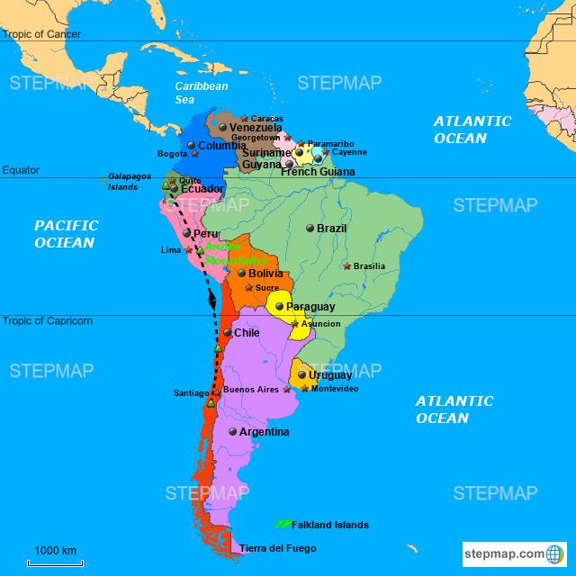 StepMap - South America - Landkarte für zil on lake maracaibo south america map, north america south america map, ecuador south america map, tropic of capricorn south america map, map south america map, northern south america map, central america south america map, lake titicaca south america map, atlantic ocean south america map, amazon rainforest south america map, south america language map, gran chaco south america map, caribbean south america map, axis south america map, south america falkland islands map, tierra del fuego south america map, strait of magellan south america map, tropic of cancer south america map, antarctic circle south america map, dominican republic south america map,