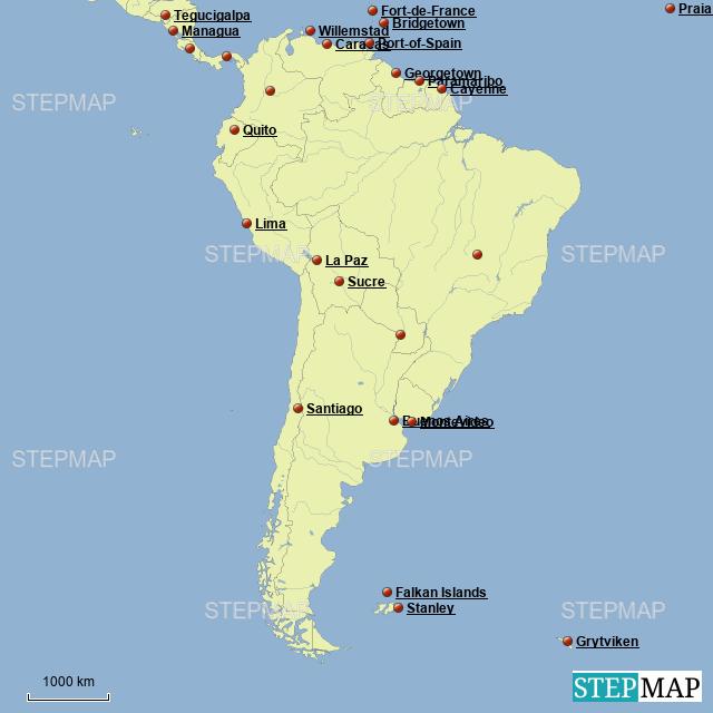 StepMap - South America Capitals - Landkarte für Argentina