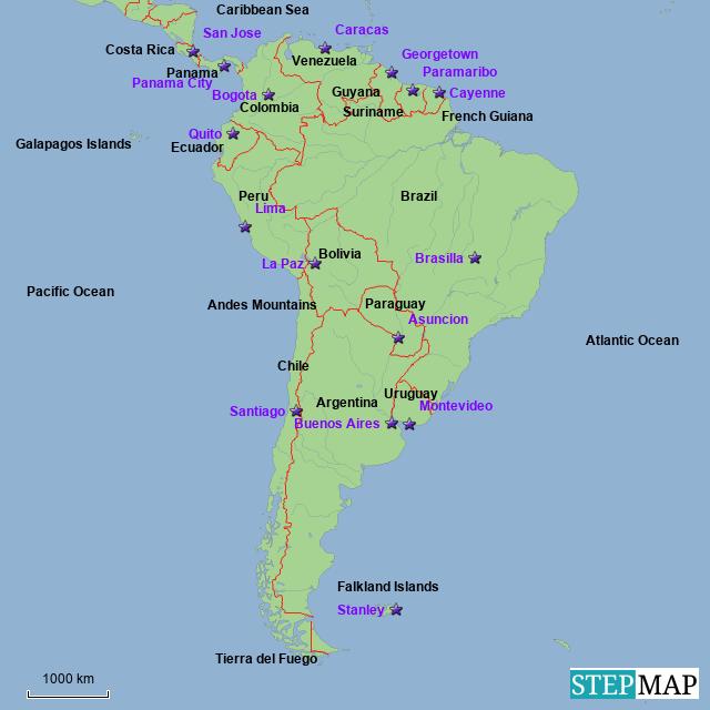 Stepmap South America Central America Landkarte Fur Argentina