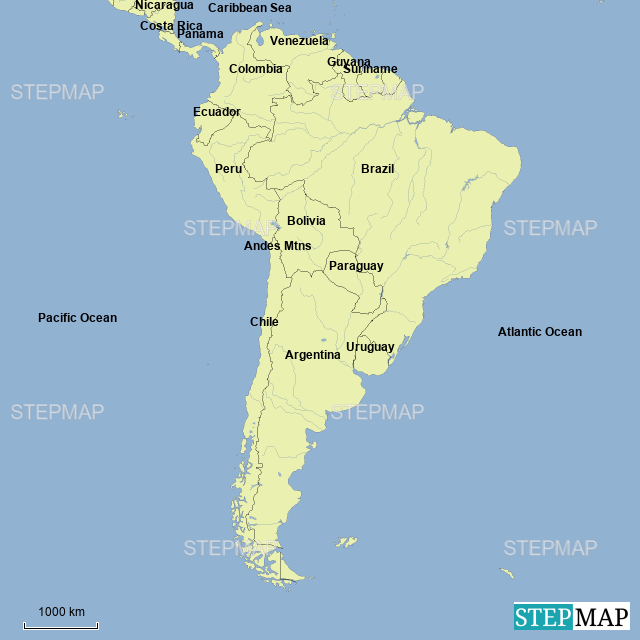 Stepmap South America Countries Bodies Of Water And Mountains