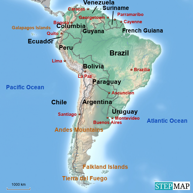 StepMap - South America Countries and Capitals - Landkarte ...