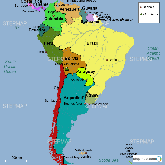 StepMap - South America (Latin America Map Dropbox ... on map of argentina, map of florida, map of us, map of paraguay, map of germany, map of china, map of georgia, map of western hemisphere, map of texas, map of france, map of italy, map of mexico, map of ecuador, map of caribbean, map of europe, map of dominican republic, map of middle east, map of australia, map of bolivia, map of honduras, map of canada, map of costa rica, map of belize, map of antarctica, map of africa, map of united states, map of venezuela, map of aruba, map of guatemala, map of nicaragua, map of north carolina, map of usa, map of the americas, map of bahamas, map of guyana, map of the world, map of asia,