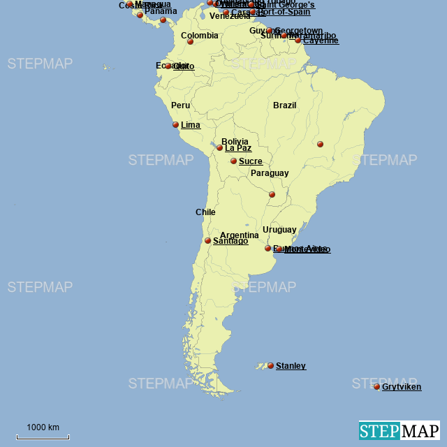 Map Of South America 2017.Stepmap South America Map Landkarte Fur Argentina