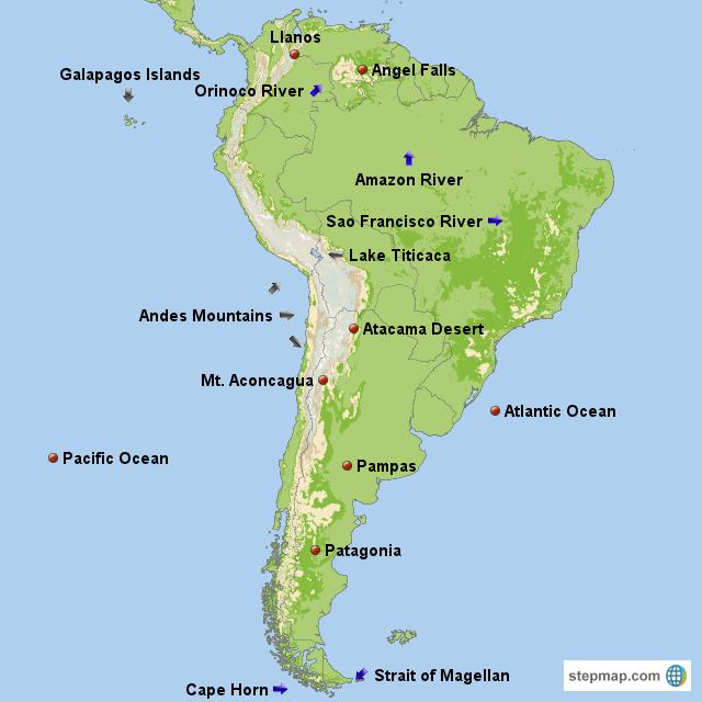 StepMap - South America Physical Map - Landkarte für South America