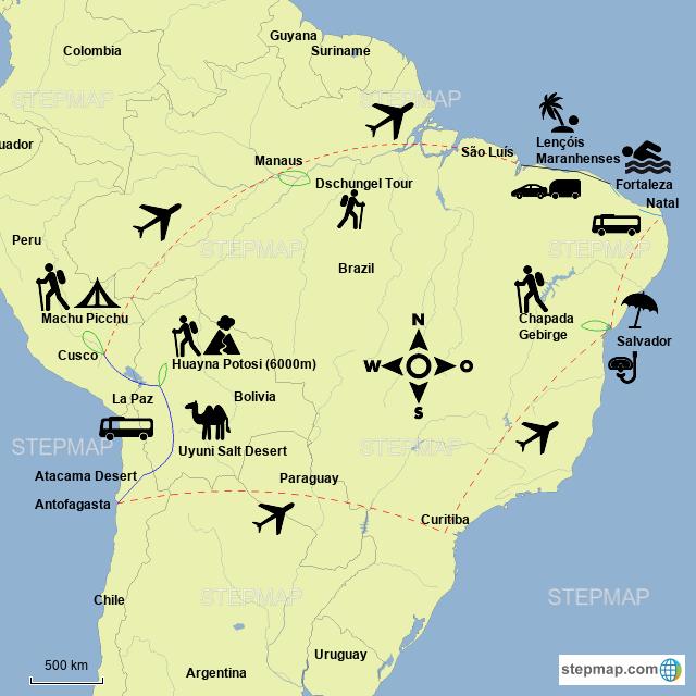 StepMap - South American Tour - Landkarte für Brazil