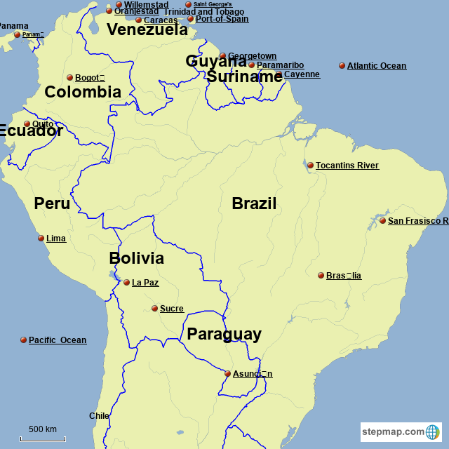 South Anerica Map StepMap   South Anerica   Landkarte für Brazil
