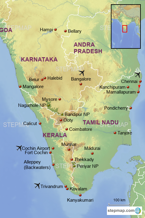 StepMap - South India Template with Hampi - Landkarte für India