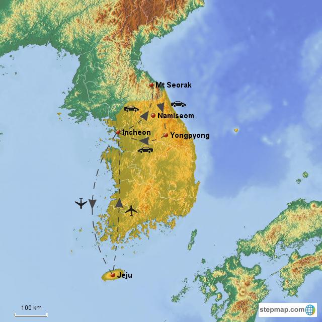Stepmap South Korea Jeju Nami Island Yongpyong Seoul Landkarte