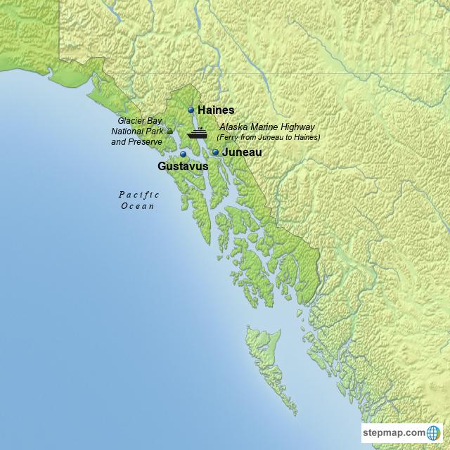 StepMap - Southeast Alaska - Landkarte für USA