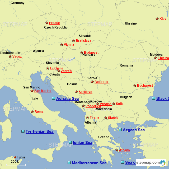 StepMap - Southeastern Europe - Landkarte für Germany