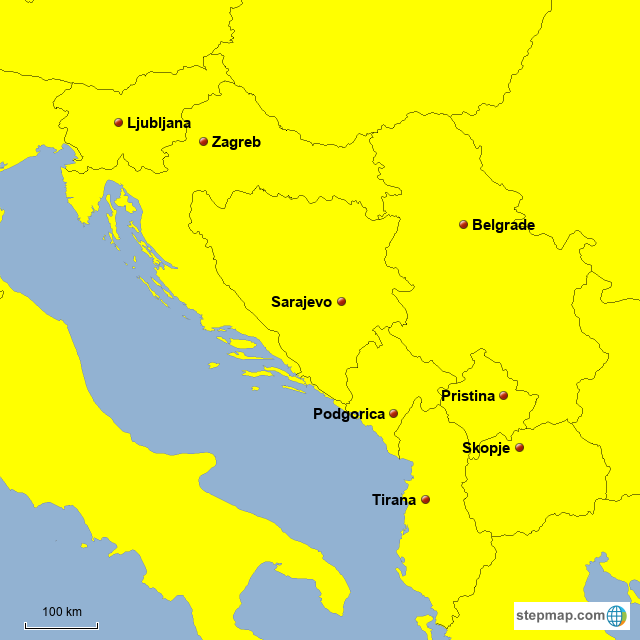 Map Of Southeastern Europe With Capitals.Stepmap Southeastern European Countries Capitals Landkarte Fur