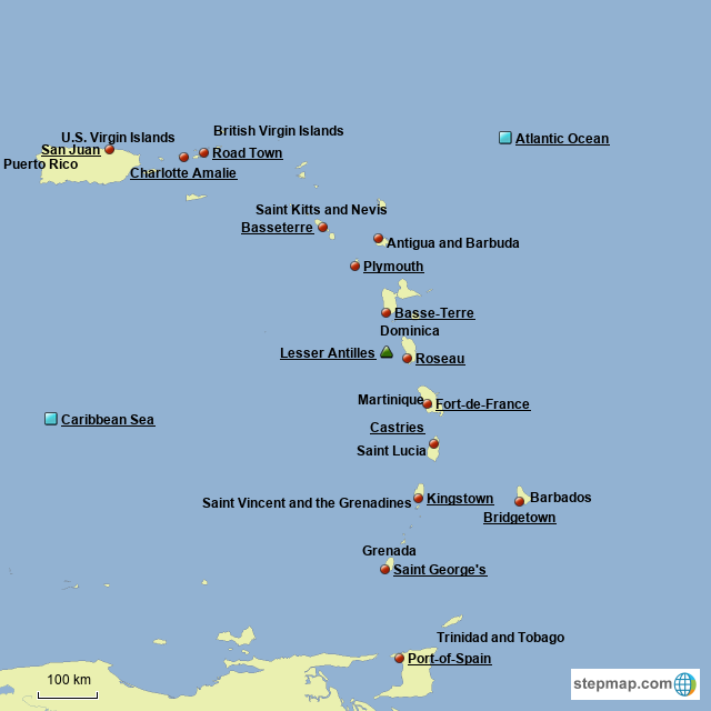 StepMap - Southern Caribbean Islands - Landkarte für Puerto Rico on dominican republic map, florida map, mediterranean map, haiti map, southeast usa map, african map, caribbean island, european map, caribbean hotel, guyana map, lesser antilles map, caribbean princess, jamaica map, asia map, africa map, bvi map, europe map, mexico map, trinidad map, brazil map, united states map, caribean map, carribean map,