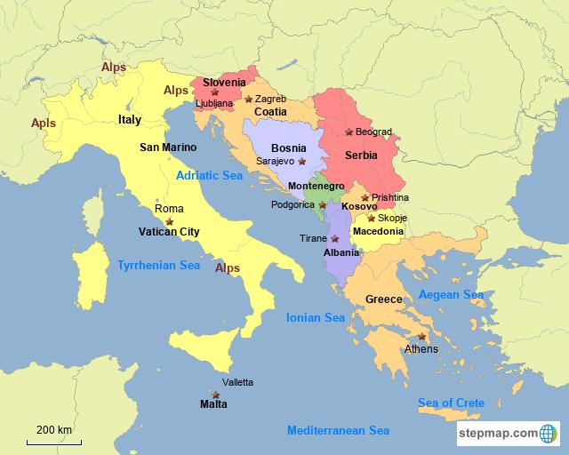 StepMap - Southern Europe Part 2 - Landkarte für Italy
