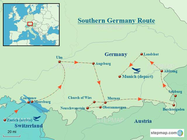 Stepmap Southern Germany Route Landkarte Fur Germany