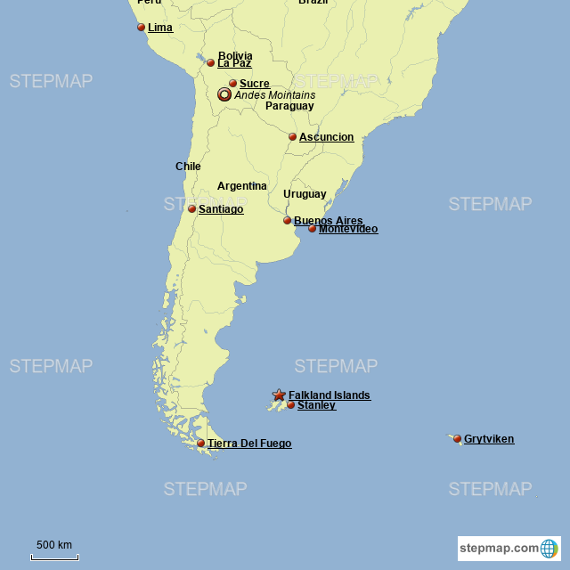 StepMap - Southern South America - Landkarte für zil on map of southern uk, map of southern grenada, map of southern zambia, map of southern east coast, paraguay map south america, map of southern ethiopia, temples in south america, ancient temples south america, map of southern us beaches, southern cone of latin america, map of africa, the southern region of america, map of central andes, map of southern cambodia, road map south america, map of southern singapore, map of southern mediterranean countries, map of southern us states, map of southern continent, map of central america,