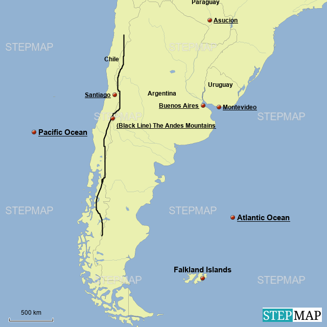 StepMap - Southern South America - Landkarte für Argentina