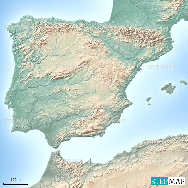 Map Of Spain Mountains.Stepmap Spain Mountains And Rivers Landkarte Fur Spain