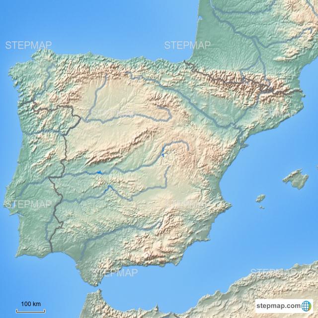 Map Of Spain Rivers.Stepmap Spain Rivers Landkarte Fur Spain