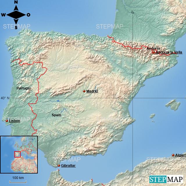 Stepmap Spain Location Map Landkarte Fur Spain