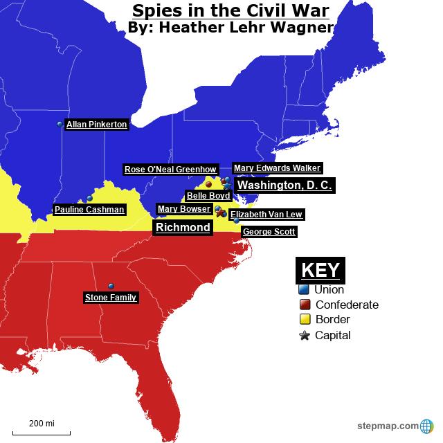 StepMap - Spies in the Civil War Map - Landkarte für USA on