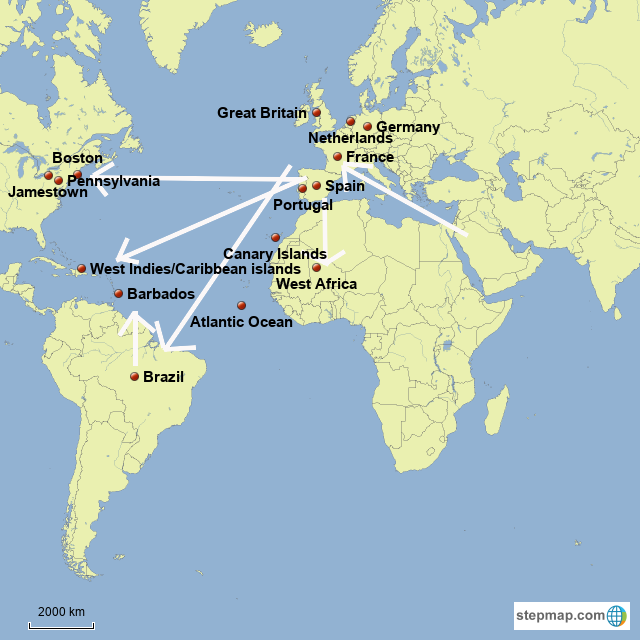 StepMap - Spirits in the Colonial Period - Landkarte für Germany