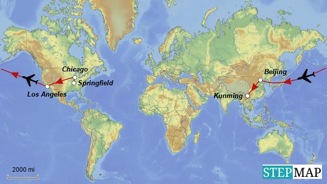 StepMap - Springfield to Kunming - Landkarte für World on changsha world map, kashgar world map, dunhuang world map, yangzhou world map, shenyang world map, kaifeng world map, fukuoka world map, jeddah world map, auckland world map, urumqi world map, surabaya world map, guizhou world map, vientiane world map, ho chi minh city world map, suzhou world map, luoyang world map, chengdu world map, gansu world map, shangri-la world map, wuxi world map,