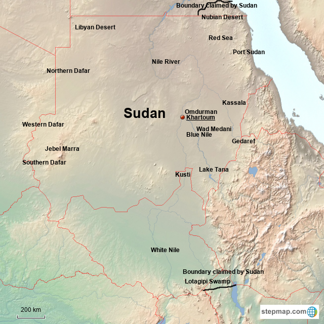 StepMap - Sudan - Landkarte für Africa on buon ma thuot map, port sudan map, sfax map, lagos map, kayseri map, east london map,
