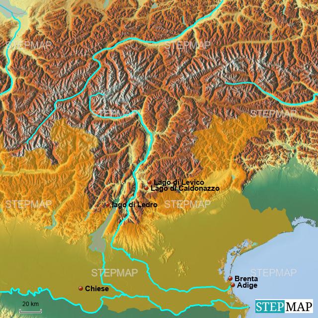Trentino Alto Adige Cartina Geografica Fisica.Stepmap Trentino Fisica Landkarte Fur Italy