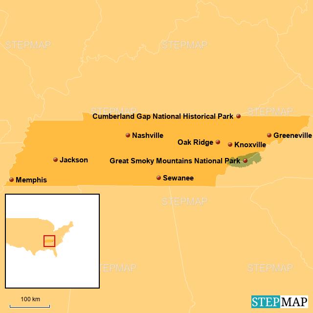 StepMap - Tennessee, USA - Landkarte für USA