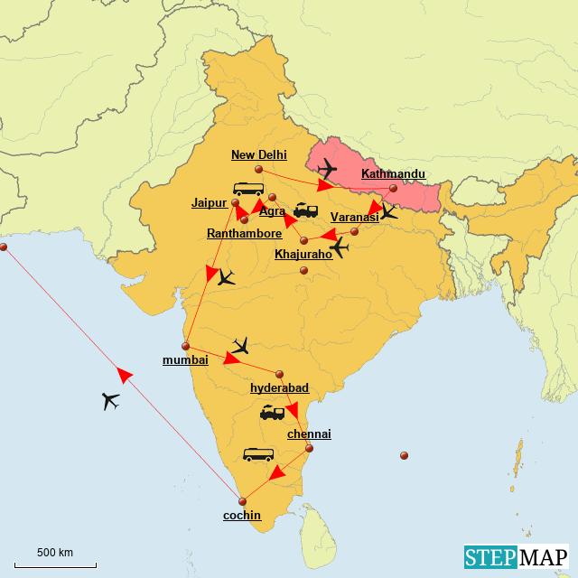 Stepmap Test India Nepal Map Landkarte Fur India