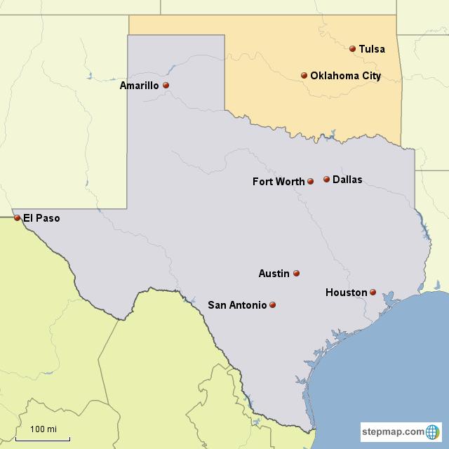 Map Of Texas And Oklahoma.Stepmap Texas Oklahoma Landkarte Fur Usa