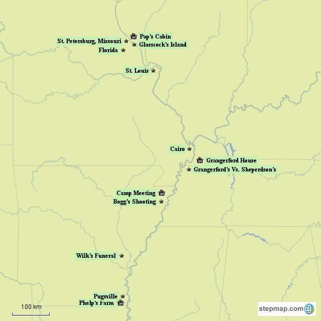 StepMap - The Adventures of Huckleberry Finn - Landkarte für North ...