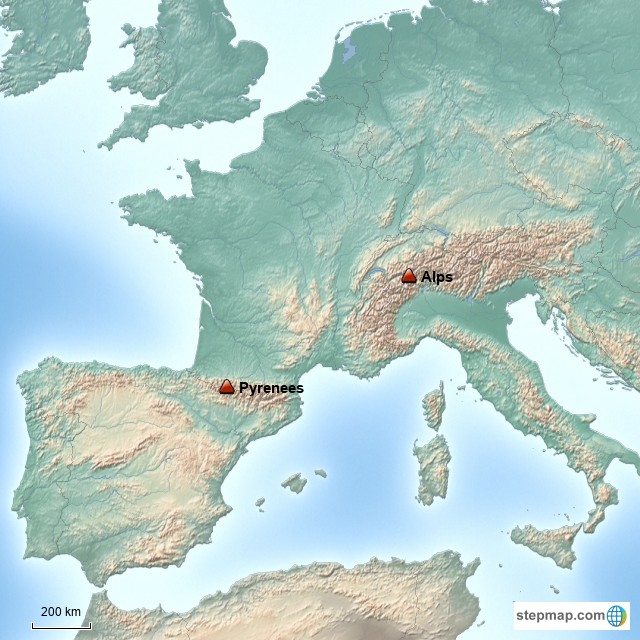 StepMap - The Alps and Pyrenees Mountain Ranges, Europe - Landkarte ...
