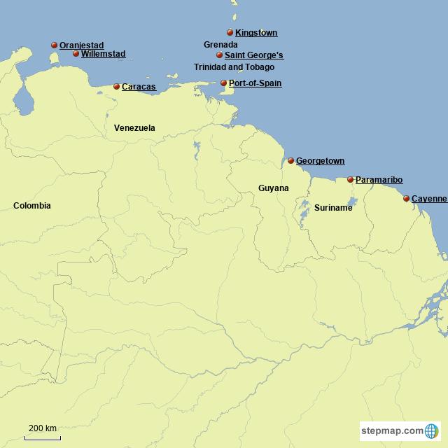 Tip Of South America Map.Stepmap Tip Of South America Landkarte Fur Venezuela