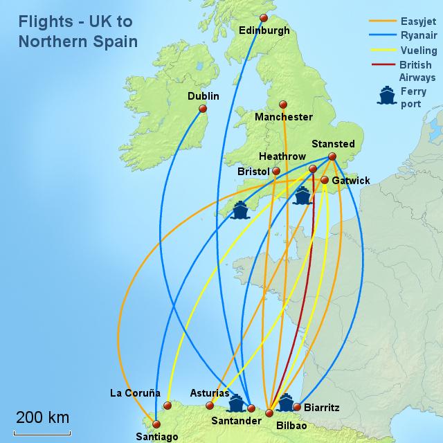 Map Of Uk Ferry Routes.Stepmap Travel Routes Uk N Spain Landkarte Fur Spain