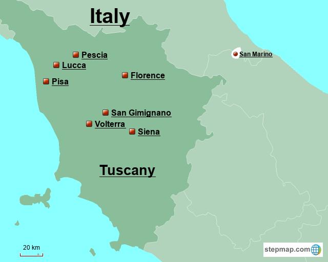 StepMap - Tuscany - Landkarte für Italy