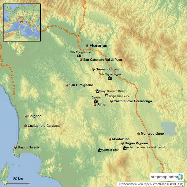 Stepmap Tuscany Wine Country Landkarte Fur Italy