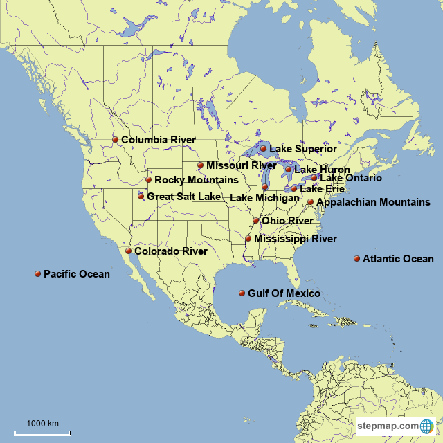 North America Bodies Of Water Map StepMap   US bodies of water   Landkarte für USA