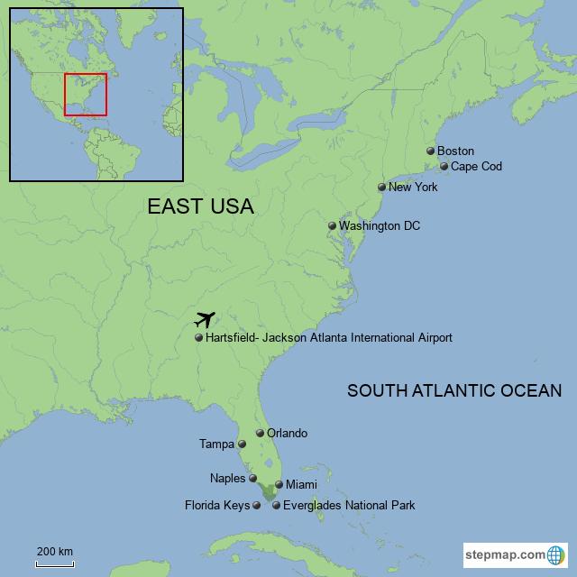StepMap - USA East Coast - Landkarte für USA