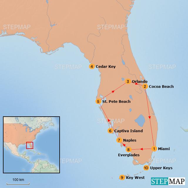 Map Of Usa Florida.Stepmap Usa Florida Sun Fun Landkarte Fur Usa
