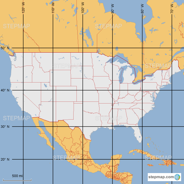 StepMap - USA latitude and longitude - Landkarte für Germany